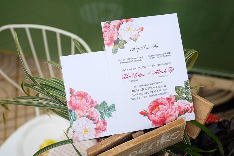 thiep cuoi dep in hoa mau don - In thiệp cưới