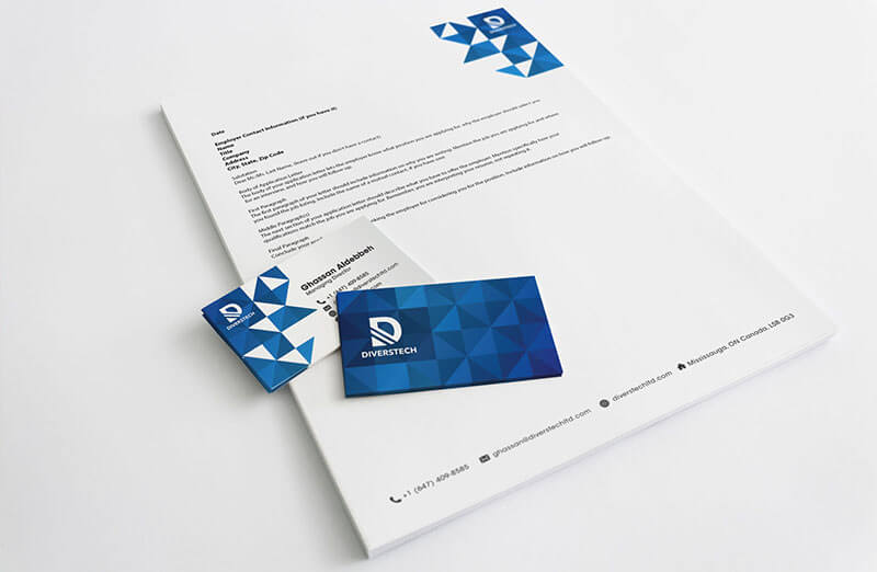 pictureicon diverstech business card letterhead mockup - In giấy tiêu đề